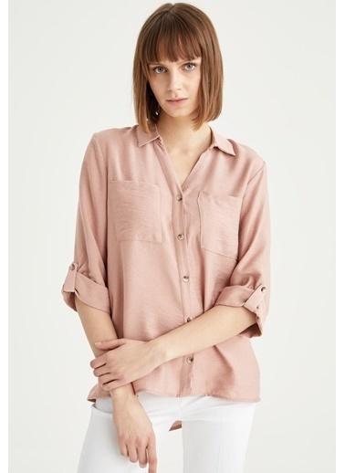 DeFacto Cep Detaylı Uzun Kol Gömlek Bordo